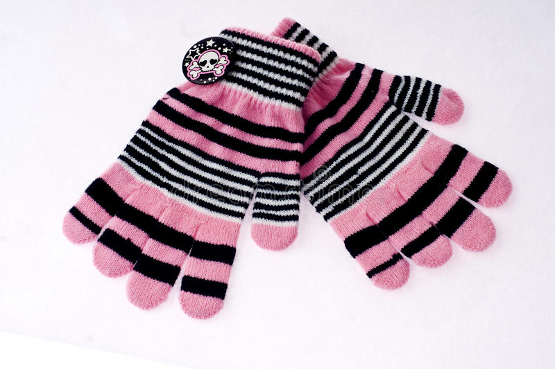 Pink winter gloves. Woman fashion pink winter gloves stock image