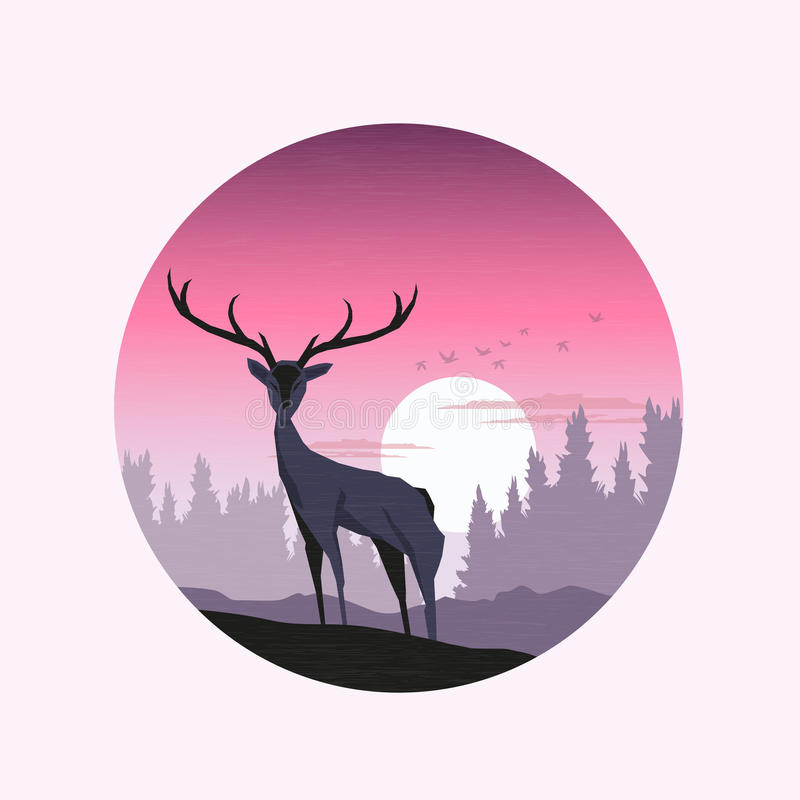 Download Pink Winter Sunset stock vector. Image of stag, beautiful - 34392700