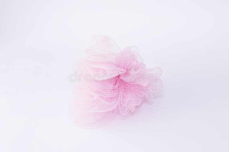 Pink Wisp Bast  on white Background Bathroom Accessories Body Care. Top View stock images