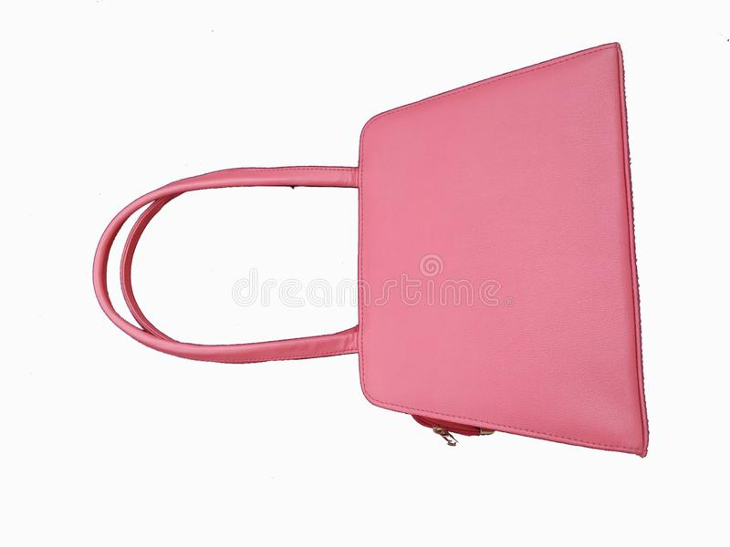 Pink woman`s bag isolated on white  background stock photography