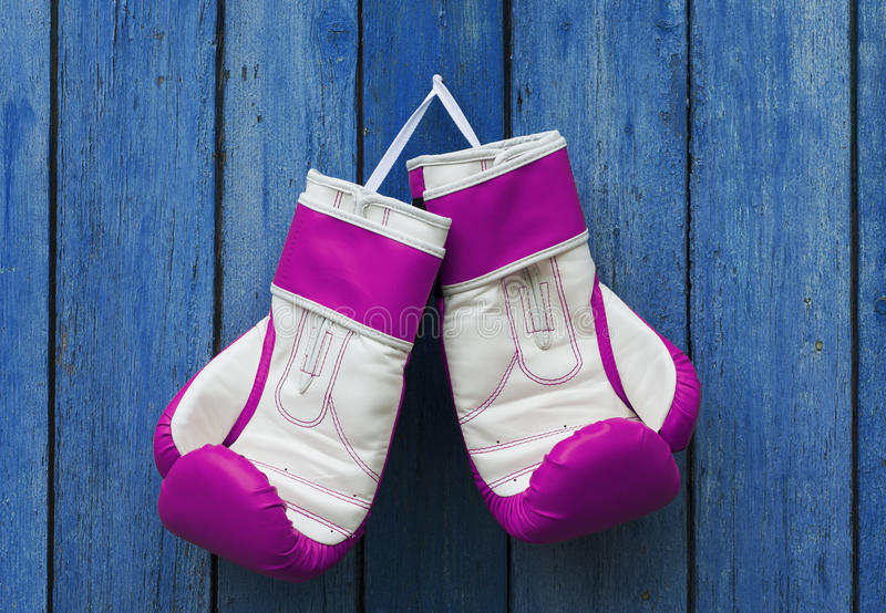 Pink women's gloves. Hanging in the old blue wooden wall stock photography