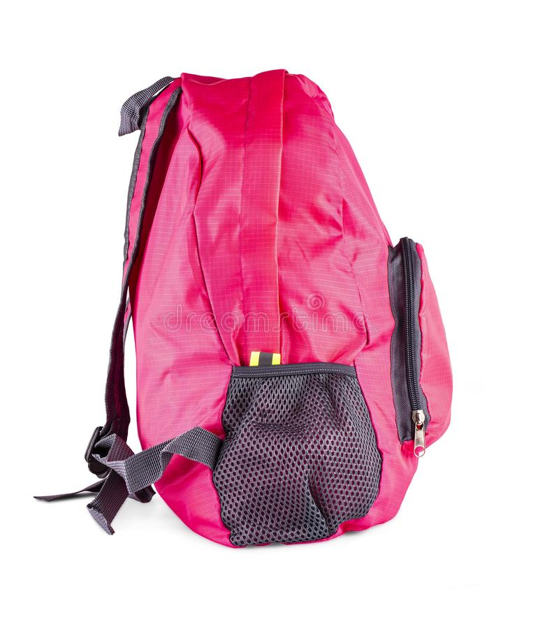 The pink women`s sports bag isolated on white background stock photography