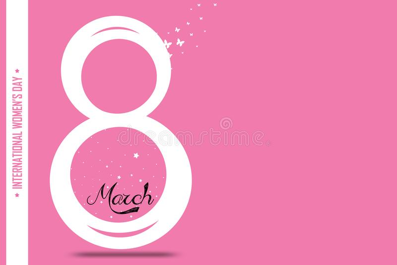 Pink `Women` Typographical Design Elements. International women`s day icon.Women`s day symbol. design for international women. `s day concept vector illustration