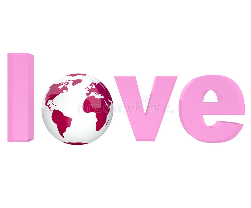Pink Word Love with Planet Earth. The word Love in pink letters with Earth globe in place of o vector illustration