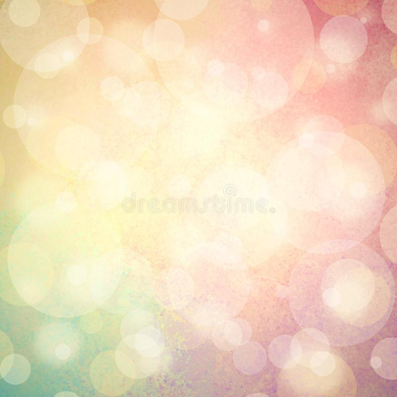 Pink yellow and blue green background with white bubbles or bokeh lights royalty free stock photos