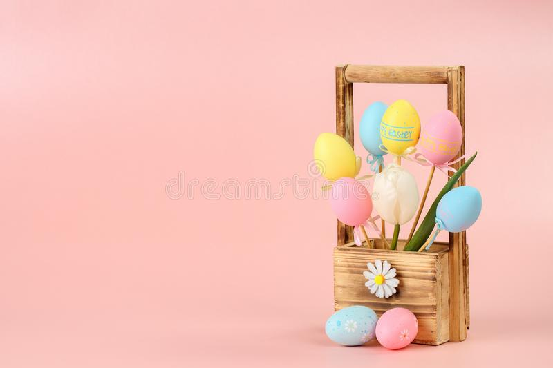 Pink, yellow and blue painted eggs on sticks and white tulip in a wooden basket for flowers on a pink background. Easter concept, stock photos