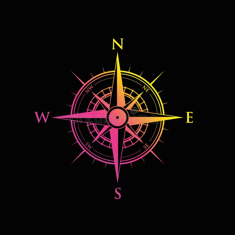 Pink and yellow compass vector illustration