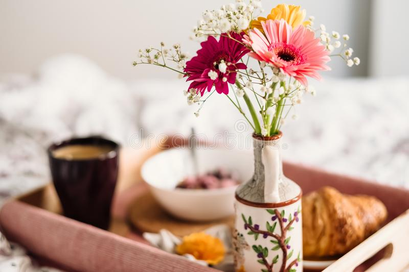 Pink and Yellow Gerbera Daisies in Vase royalty free stock image