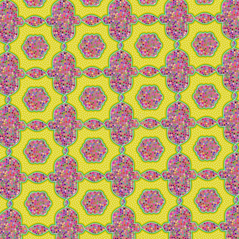 Pink and yellow glittery stippled ethnic pattern. Pink and yellow glittery ethnic pattern with unique texture for textile, fabric, wallpaper, backdrops, and royalty free illustration
