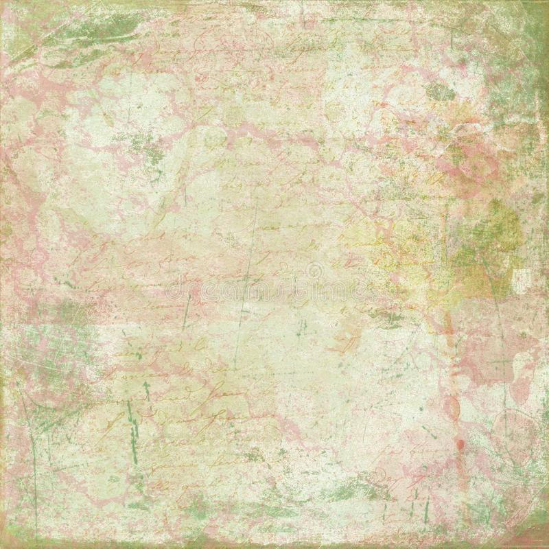 Shabby Chic Background Collage Paper - Abstract - Shabby - Paint Splatters - Calligraphy. Pink, yellow and green feminine collage comprised of a paint splatters royalty free illustration