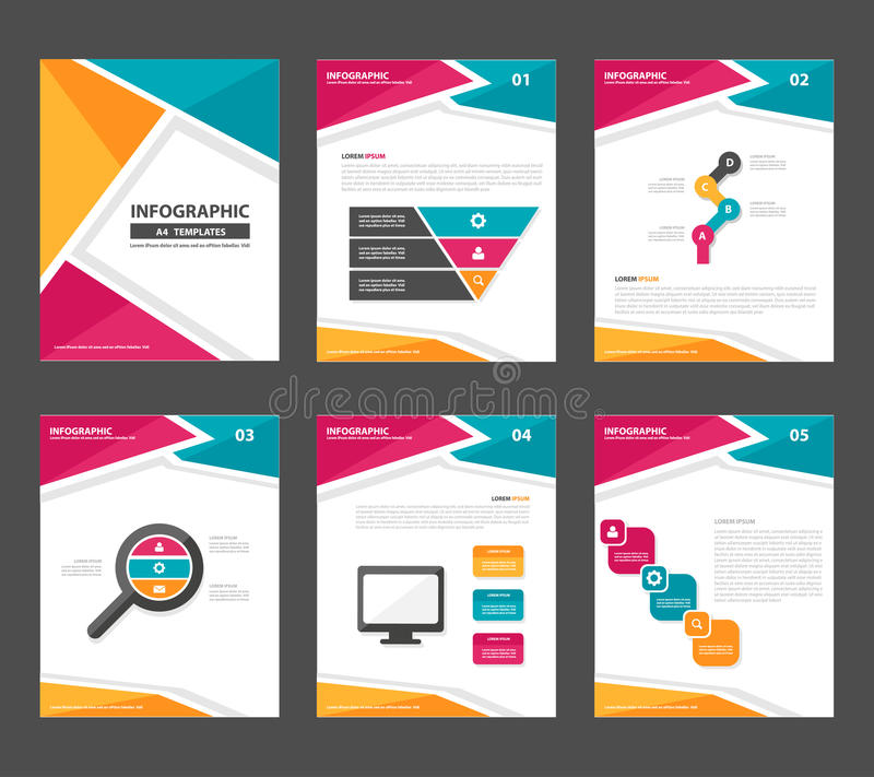Pink yellow green Infographic elements presentation template flat design set for advertising marketing brochure flyer leaflet stock illustration