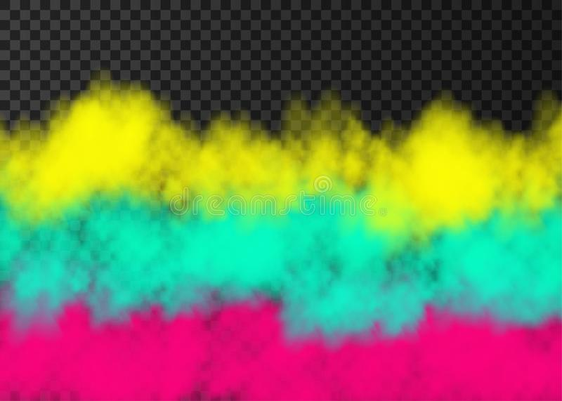 Pink, yellow, green  smoke  or fog  on transparent background. Pink, yellow, green smoke   on transparent background.  Steam special effect.  Realistic  colorful vector illustration