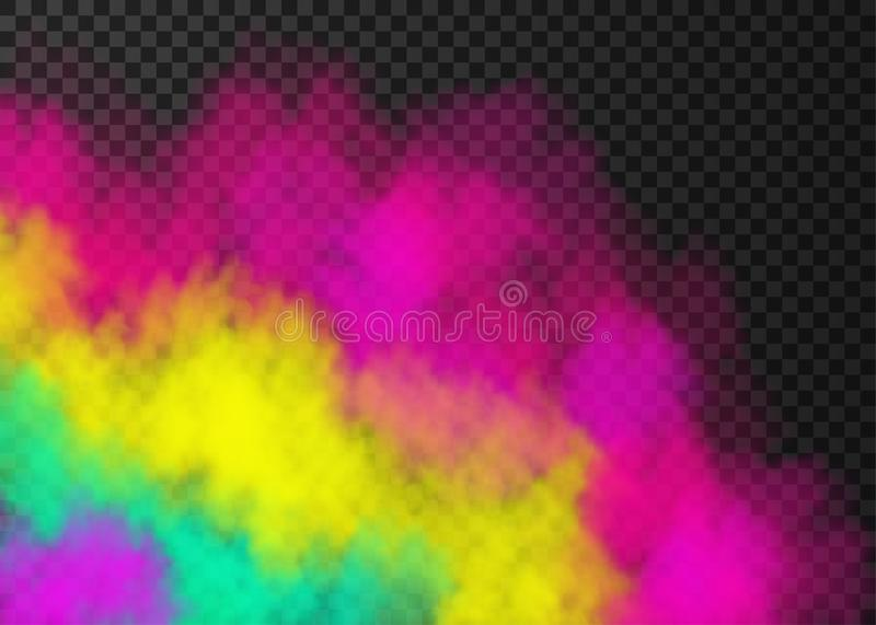 Pink, yellow, green  smoke  or fog  on transparent background. Pink, yellow, green smoke   on transparent background.  Steam special effect.  Realistic  colorful royalty free illustration