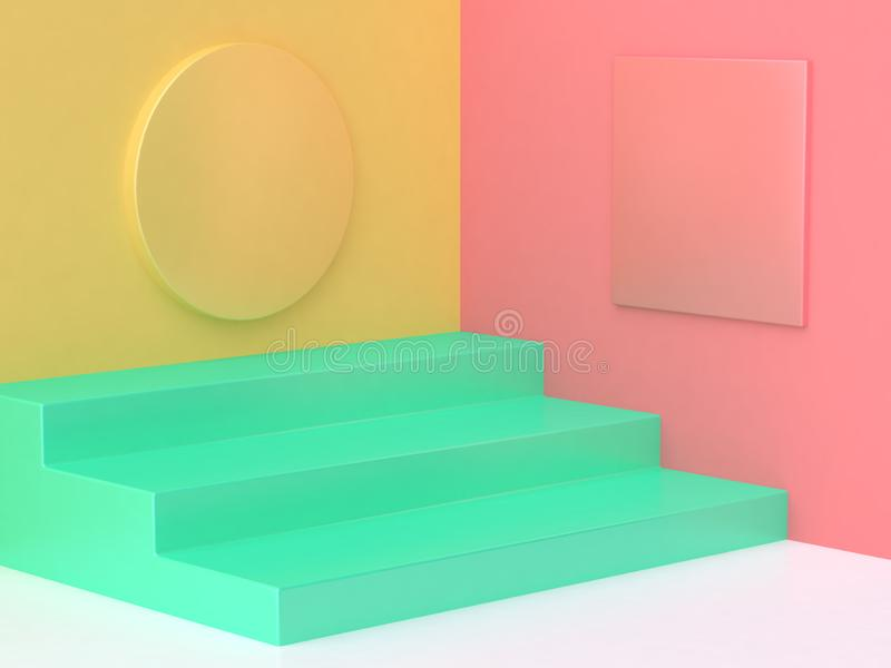 Pink yellow green step floor colorful abstract minimal background 3d render vector illustration