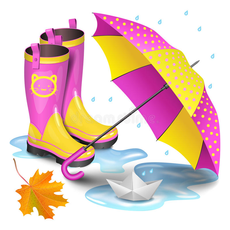 Pink-yellow gumboots, childrens umbrella,falling maple leaves. Pink-yellow gumboots, childrens umbrella, falling orange maple leaves and paper boat in puddle stock illustration