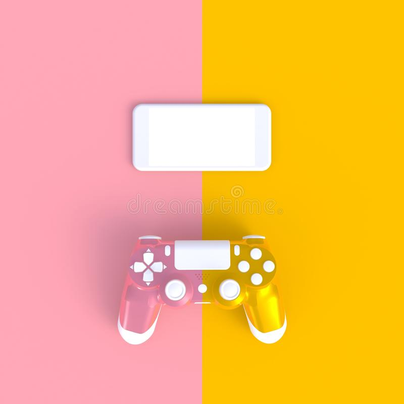 Pink yellow joystick with smart phone on pink yellow table background, Computer game competition, Gaming concept. 3D rendering royalty free illustration