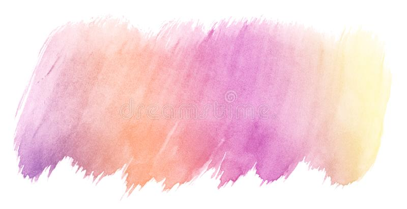 Pink-yellow multicolor watercolor in pastel colors. An isolated place with divorces and borders. Frame for design royalty free stock photo