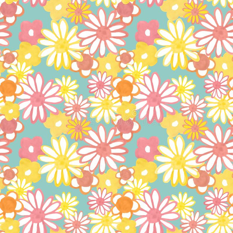 Pink, yellow and orange floral seamless pattern on blue background. Trendy bohemian vintage pattern in 60s style. Flower power. Colorful floral seamles pattern vector illustration