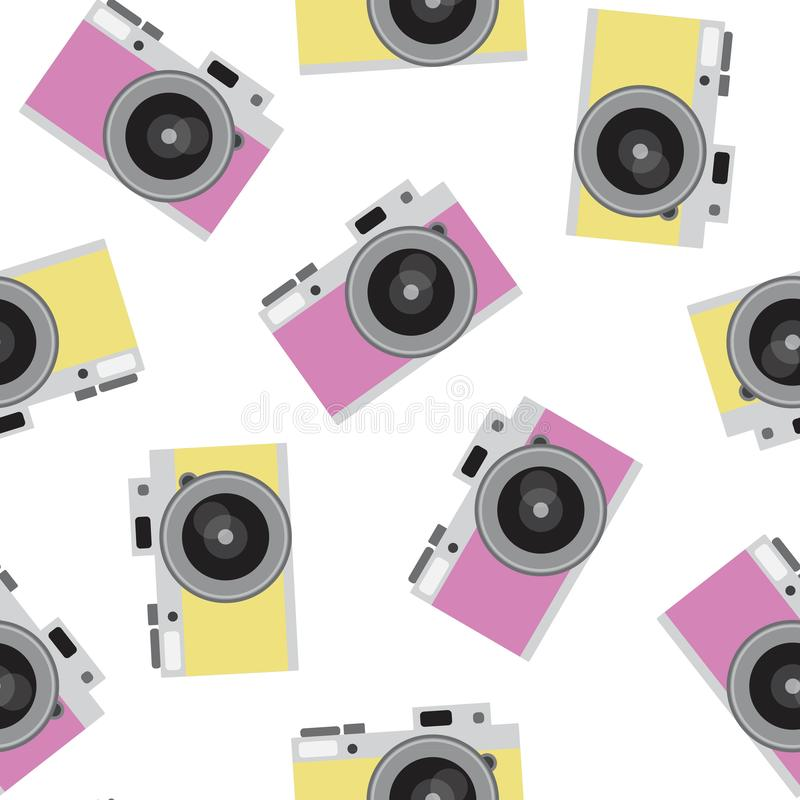 Pink and yellow retro camera pattern seamless vintage photo hips vector illustration