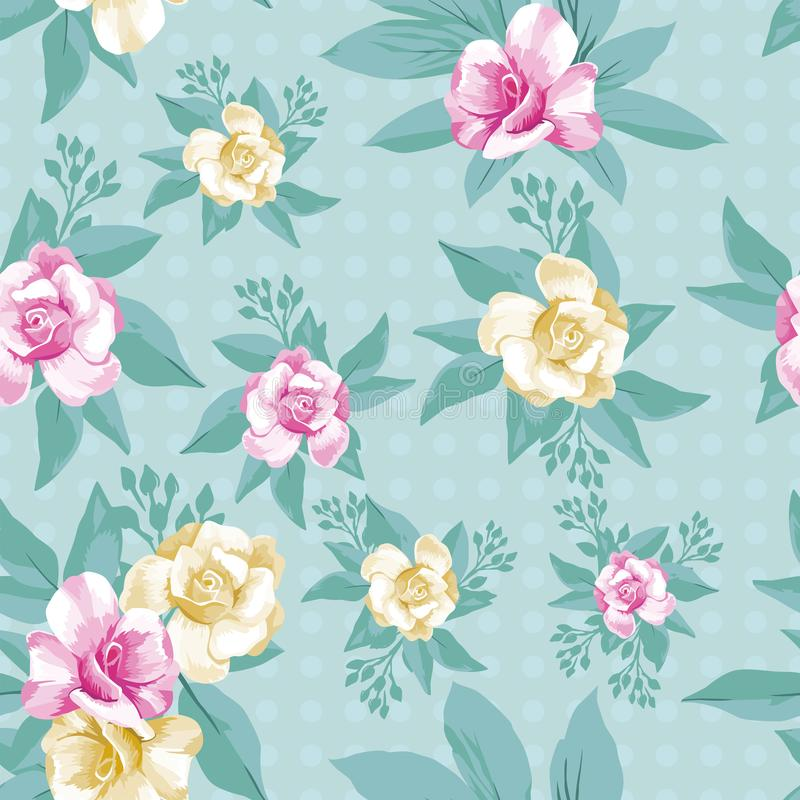 Pink yellow rose leaves seamless pattern mint background stock illustration