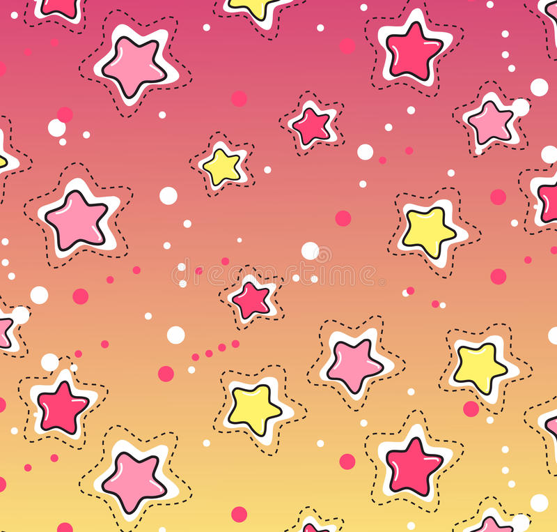 Pink, yellow stars pattern. Seamless winter pattern on paper texture. Christmas background vector illustration