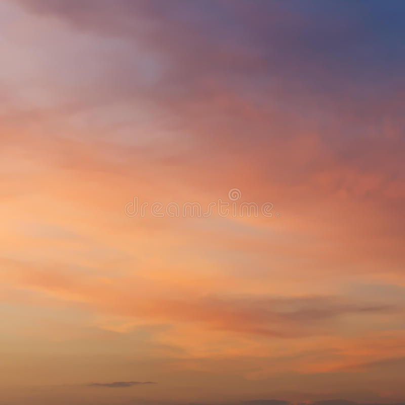 Pink and yellow sunset sky in summer stock image