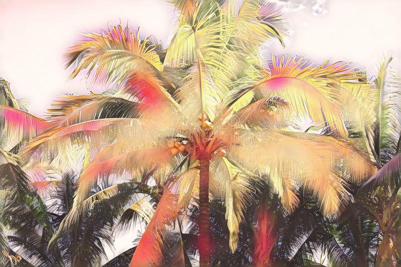 Pink and yellow toned coco palm leaf. Tropical nature vintage digital illustration. Exotic island landscape. Green palm leaf banner template. Tropical paradise royalty free illustration