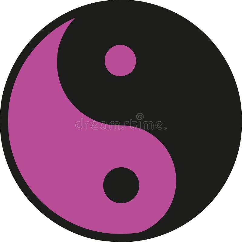 Pink Ying yang icon vector illustration