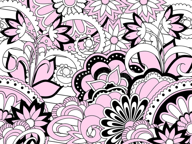 Pink zen pattern with flowers and mandalas stock illustration