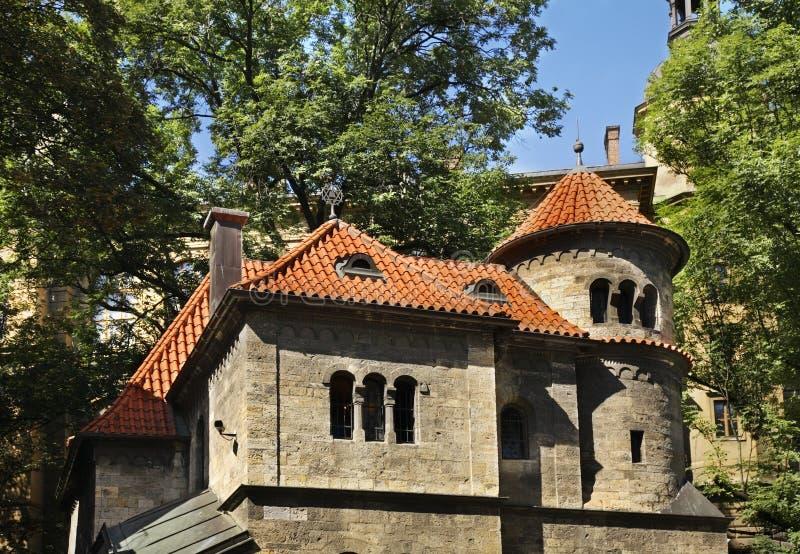Pinkas Synagogue - korridor av ceremonier i Josefov Prague för republiktown för cesky tjeckisk krumlov medeltida gammal sikt royaltyfri bild