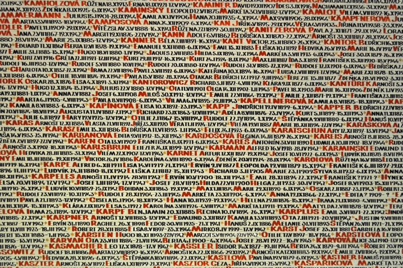 Pinkas Synagogue Wall Memorial to Holocaust Victims. The Pinkas Synagogue located in Prague, Czech Republic, serves as a memorial to the victims of the Holocaust royalty free stock photos