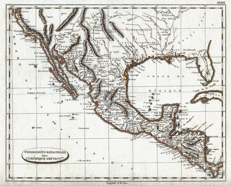 1804 Pinkerton-Kaart van Koloniaal Mexico en Spaans Amerika royalty-vrije illustratie