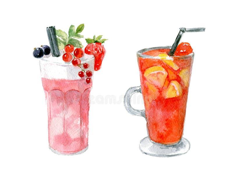 Pinkfarbener Schaumcocktail mit Erdbeeren, schwarzen und roten Johannisbeeren und rotem Maulwein mit Orangen lizenzfreies stockfoto