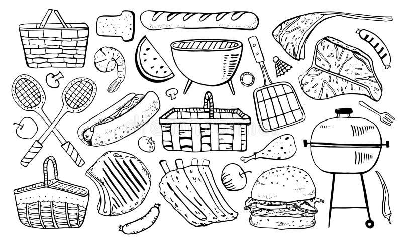 Pinkin, grill i grill, protestujemy set Konturu nakre?lenia wektorowa ilustracja ilustracji