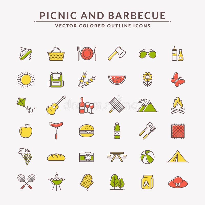 Pinkin i grill barwić kontur ikony royalty ilustracja