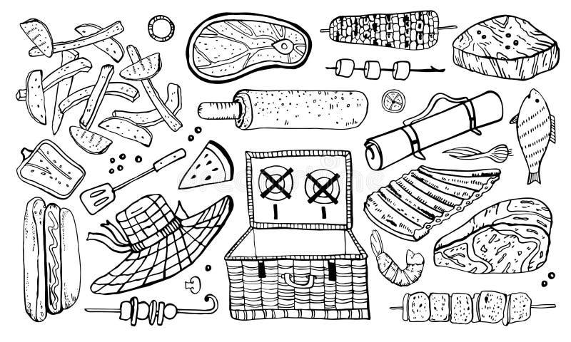 Pinkin i grill protestujemy set Konturu nakreślenia ręka rysująca wektorowa ilustracja ilustracja wektor