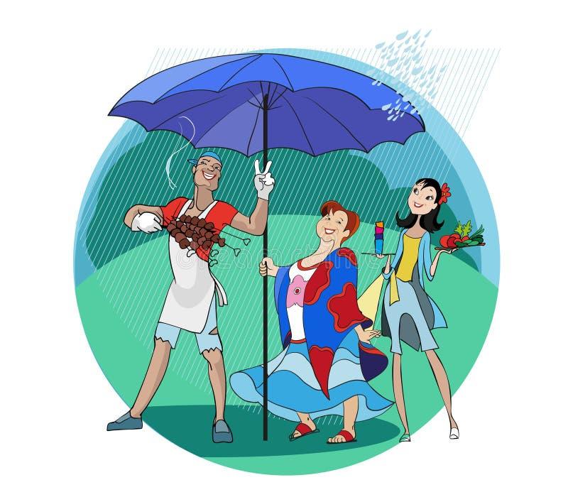 Pinkin w deszczu royalty ilustracja