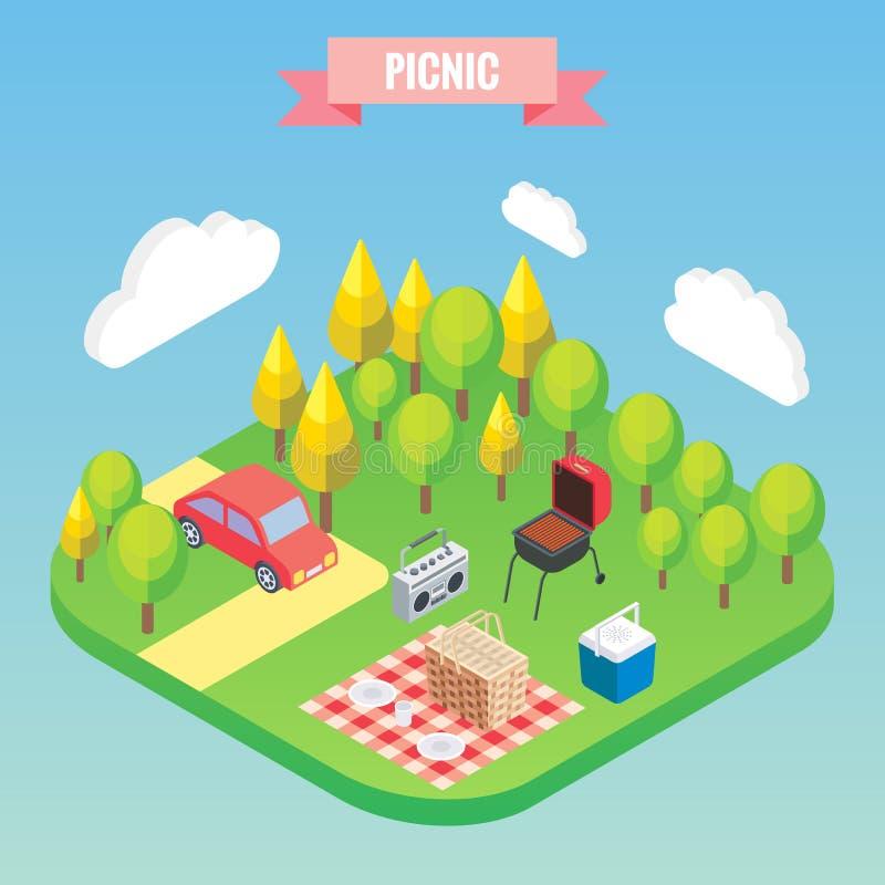 Pinkin w parkowi isometric przedmioty Wektorowa ilustracja w mieszkania 3d stylu Plenerowy rodzinny wakacje royalty ilustracja