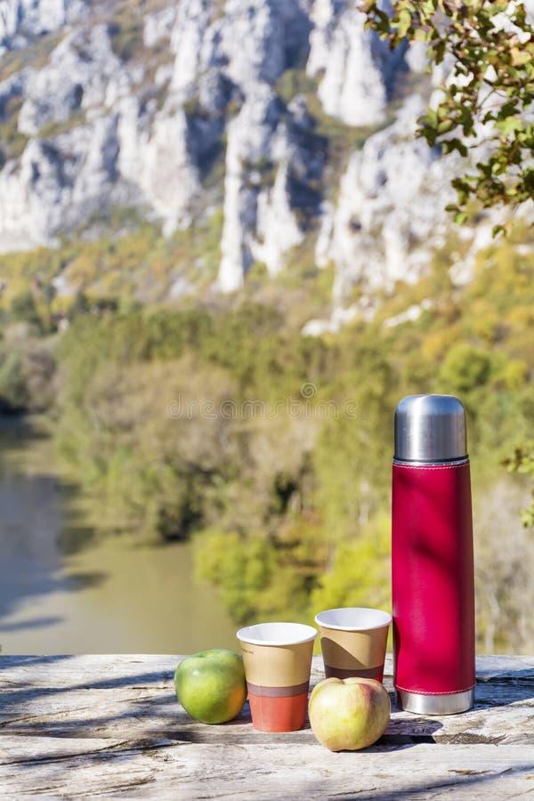 Pinkin w wysokiej górze z czerwonym termosem, kawą i jabłkami, fotografia royalty free
