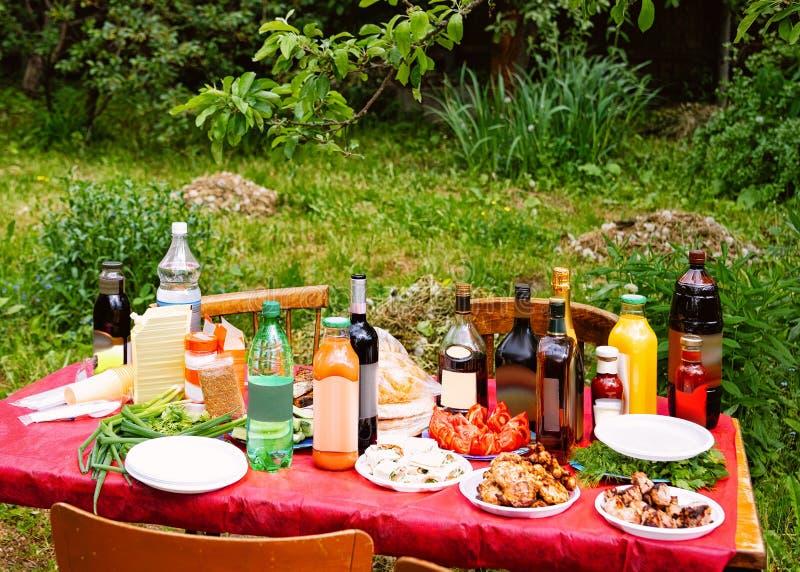 Pinkin z kebabem, warzywa i alkoholiczka zdjęcie stock