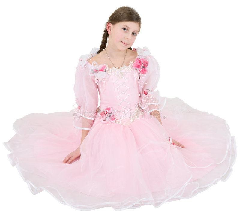 pinkish klänningflicka arkivfoto