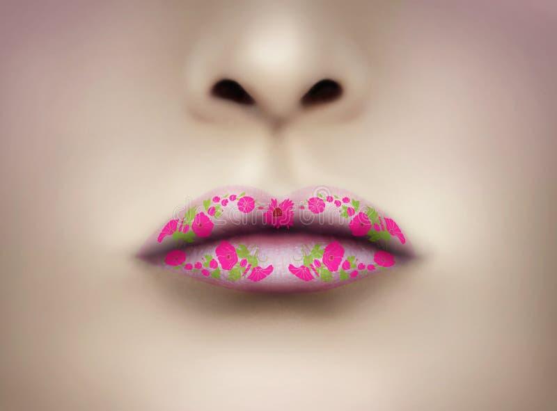 PinkLipstick和自由花装饰 库存照片