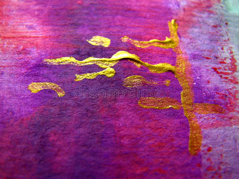 Pinks and Purples with Gold on Watercolor stock image