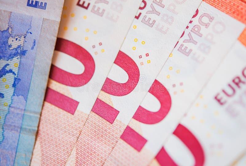 Pinky Dziesięć Euro rachunków obrazy stock