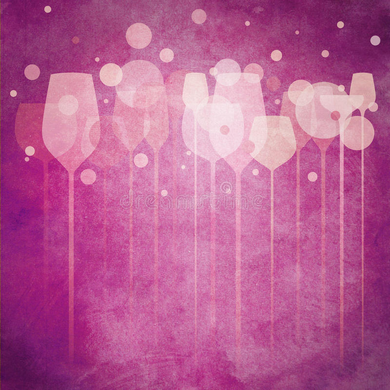 Pinky Party Glasses. A funky illustration of various alcohol drink glasses, perfect for menu, poster and cover design etc royalty free illustration