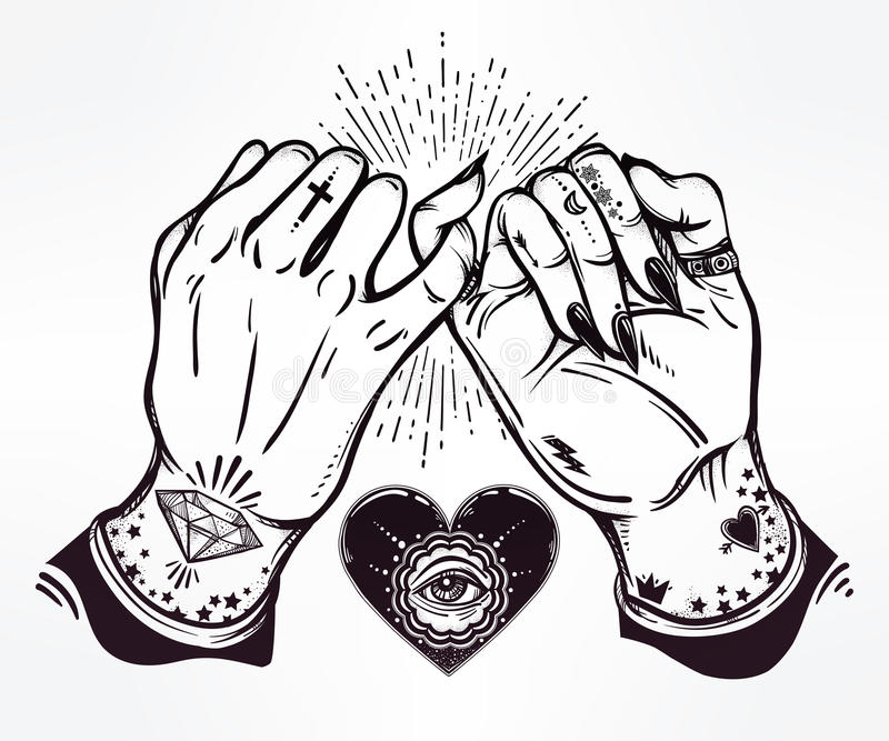 Download Pinky Promise Hand Holding Trendy Vector Art Stock