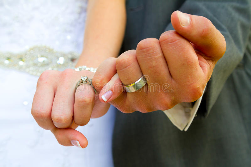 Pinky Swear Wedding Rings royalty free stock image