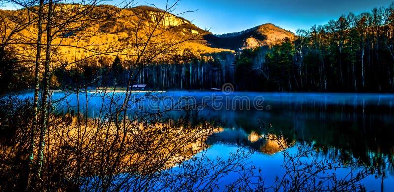 Pinnacle Lake With Table Rock Mountain stock photos