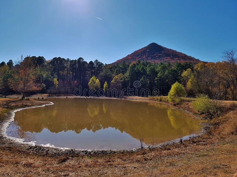 Pinnacle Mountain Reflection pond stock photo