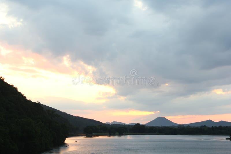 Pinnacle mountain from Two Rivers Park bridge royalty free stock photos